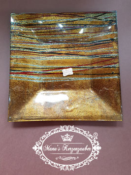 Kerzenteller KST 206 kupferbraun/rot/gold Glas