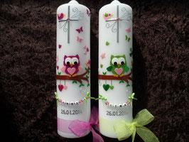 Taufkerzen Zwillinge Eulen TK181 Pink-Rosa & Apfelgrün-Rosa Flitter