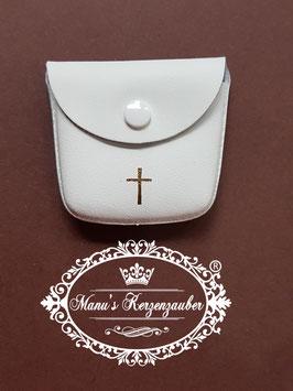 Rosenkranz Lederetui Leder Weiß