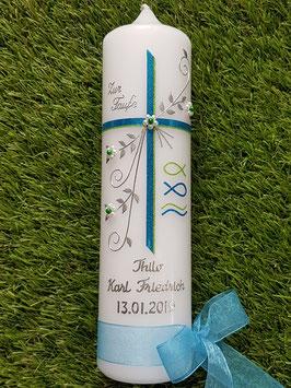 Taufkerze TK137 Fisch & Wellen in Mittelblau-Apfelgrün Flitter / Silberschrift / Kreuz in Mittelblau & Apfelgrün