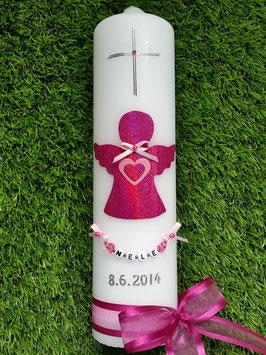 Taufkerze SK156 SCHUTZENGEL Pink Holoflitter