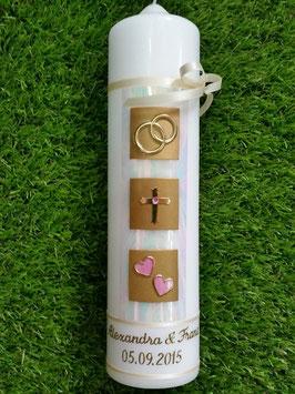 Sehr edle Hochzeitskerze HK210 Perlmutt-Creme-Rosa Gold mit Kreuz >> Symbole vertauscht !