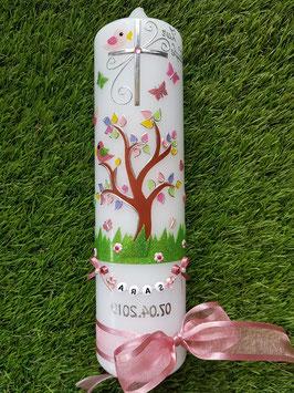 Taufkerzen  Lebensbaum rosa mit Buchstabenkette  TK400-2 / Bänder Altrosa