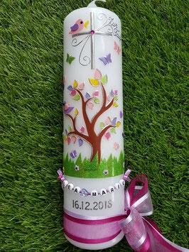 Taufkerze TK400 Lebensbaum mit Buchstabenkette/ Bänder Flieder-Pink