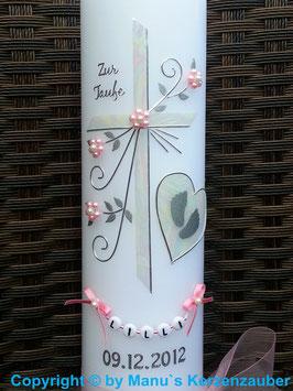 Taufkerze TK134 Herz mit Füsschen in Creme-Rosa / Perlblüten Rosa