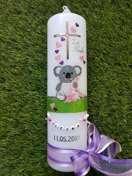 """Taufkerze """"Koala"""" TK217 Rosa-Brombeerlila-Apfelgrün Holoflitter / Herzen & Buchstabenkette"""