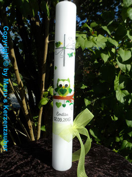 Kommunionkerze EULE das Original KK180 Apfelgrün-Grün Flitter