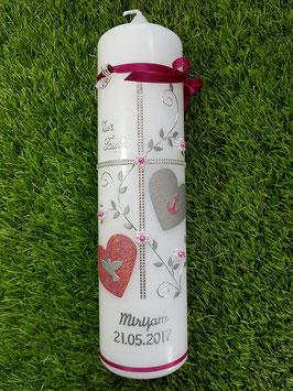 Taufkerze Kreuz TK109 in Pink-Altrosa Holoflitter / Silberschrift
