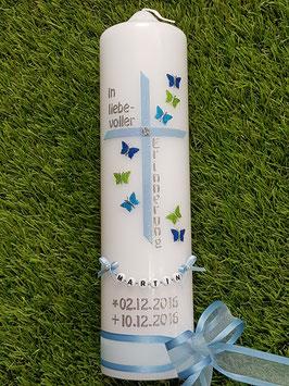 Trauerkerze Erinnerungskerze Schmetterlinge TRK190 Hellblau-Türkis-Apfelgrün-Dunkelblau Holoflitter
