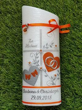 Hochzeitskerze HKS109 Orange Holoflitter mit Silber