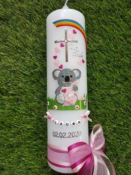 """Taufkerze """"Koala"""" TK217 Rosa-Pink-Apfelgrün Holoflitter / Regenbogen / Buchstabenkette"""