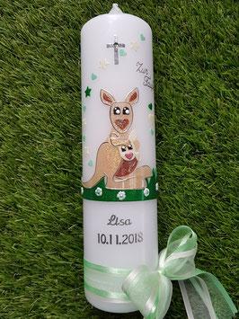 """Taufkerze """"Känguruh"""" TK218 Zartmint-Grasgrün-Camel Holoflitter / Silberschrift"""