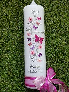 Taufkerze TK089 Schmetterlings- Blumenranke Pink-Rosa-Altrosa-Brombeerlila-Flieder Holoflitter / Namensweihe