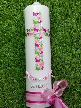 Taufkerze TK202 Kreuz Schmetterlinge Pink-Rosa-Apfelgrün-Silber Flitter
