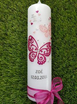 Taufkerze Schmetterling mit Silberschrift TK183-5 Pink-Zartrosa Holoflitter