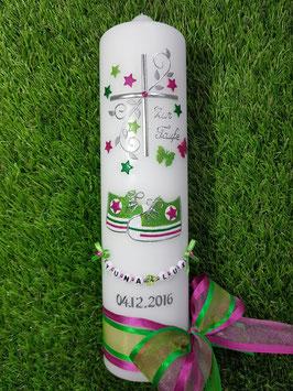 Taufkerze TK099 Babychucks Pink-Apfelgrün-Grasgrün Holoflitter mit Sterne