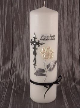 Trauerkerze weiße Rose TRK506 inkl. Namen & Datum