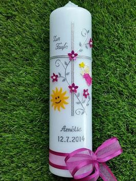 Taufkerze Kreuz TK109-5 Pink Holoflitter-Silber mit Sonne