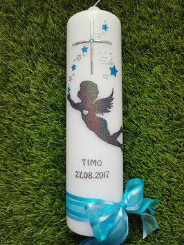 Taufkerze SK154-4 SCHUTZENGEL fliegend Anthrazit-Türkis Holoflitter