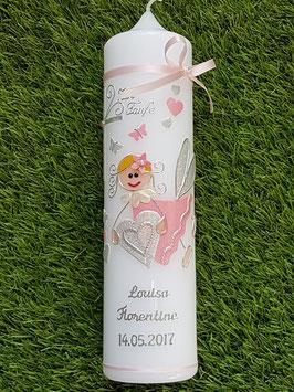 Taufkerze SK116 Schutzengel Rosa-Silber Holoflitter mit Herzen & Schmetterlinge / Silberschrift