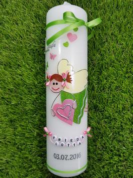 Taufkerze SK116 Schutzengel Neu Mädchen Apfelgrün-Rosa Flitter mit Verzierung