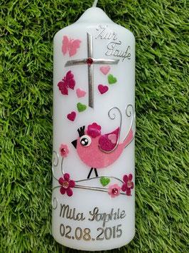 Patenkerze Vögelchen TK 212-5 Apfelgrün-Pink-Rosa Flitter