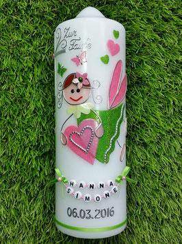 Taufkerze SK116 Schutzengel Apfelgrün -Rosa Holoflitter mit Herzen & Schmetterlinge