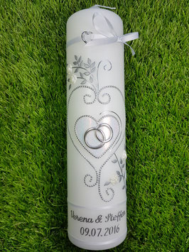 Hochzeitskerze HK208 Weiß-leicht Rosa Flitter