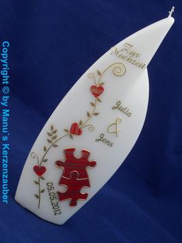 Flammenform Hochzeitskerze Rot-Gold gestreift HKS205