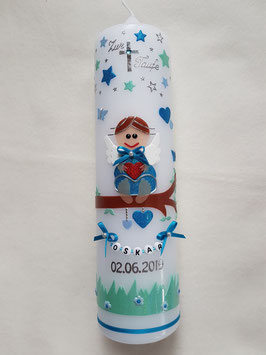 Taufkerze SK155-1 SCHUTZENGEL mit Sterne in Türkis-Hellblau-Pastellmint / Pastellmint Wiese