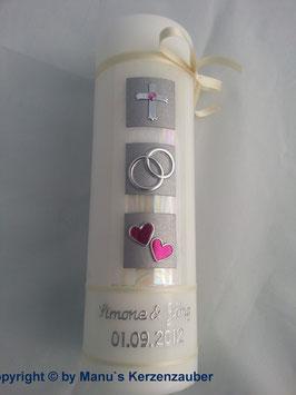 Sehr edle Hochzeitskerze HK210 Perlmutt-Pink-Silber mit Kreuz Bänder Creme
