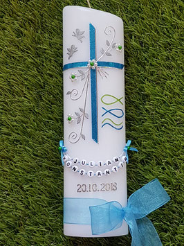 Taufkerze TK137 Fisch & Wellen in Mittelblau-Apfelgrün Flitter / Silberschrift / 2 Engel