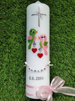 Taufkerze Vögelchen TK 192-1 Apfelgrün-Rosa Flitter