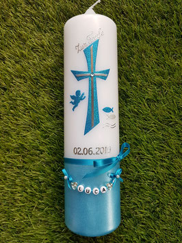 Taufkerze Kreuz TK609-U Türkis Holoflitter