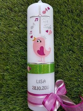 Taufkerze Vogel TK191 Rosa-Pink-Apfelgrün Holoflitter / Silberschrift