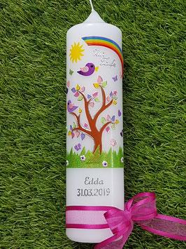 Taufkerze TK400-2 Lebensbaum mit Regenbogen & Silberschrift/ Ohne Kreuz / Band Pink