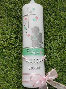 Taufkerze SK153 SCHUTZENGEL Pastellgrün-Rosa Holoflitter / Buchstabenkette