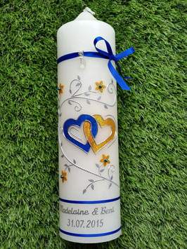 Hochzeitskerze Dunkelblau-Gelb Holoflitter HK204 Klassisch