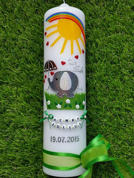 Taufkerze Elefant TK210 Grau-Silber Flitter mit Sonne & Regenbogen / Satinschleife Grasgrün