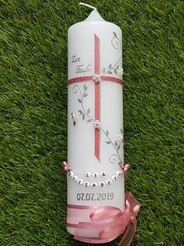 Taufkerze TK109 Kreuz Altrosa Holoflitter ohne Herzen mit Buchstabenkette / Breite Satin-Organzaschleife