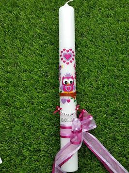 Kommunionkerze EULE das Original KK181 Pink-Flieder Flitter mit Krone & vielen Herzen darüber