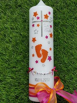 Taufkerze TK096 Große Füsschen Orange-Pink Holoflitter mit Silber