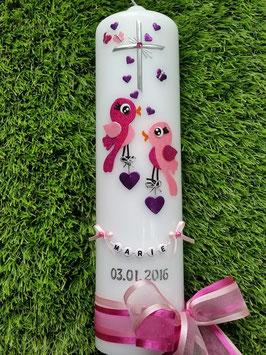 Taufkerze Vögelchen TK 192 Pink-Rosa-Brombeerlila Flitter