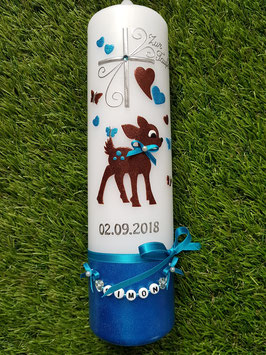 Taufkerze Bambi TK188-U Braun-Türkis Holoflitter