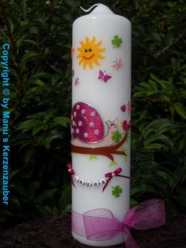 Taufkerze Schneckchen TK182-5 in Pink-Rosa mit Buchstabenkette mit Sonne ohne Kreuz