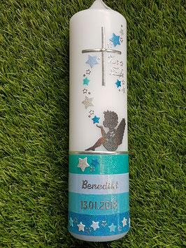 Taufkerze Schutzengel sitzend TK154-1-U mit Untergrund / Mint-Hellblau-Pastellblau-Türkis Holoflitter
