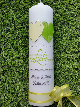 """Hochzeitskerze HK222-1 """"Liebe"""" Apfelgrün Marmoriert mit Creme Uni"""