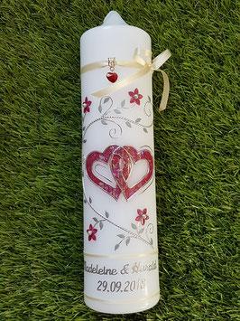 Hochzeitskerze Bordeaux-Creme-Silber HK204 Klassisch