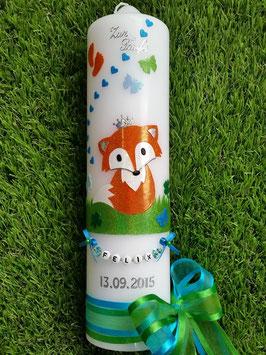 Taufkerze TK209 Fuchs Orange-Weiß-Türkis-Grün Holoflitter