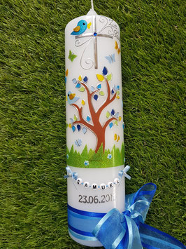 Taufkerzen Junge  Lebensbaum türkis mit Buchstabenkette  TK400-2 / Doppelschleife